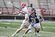 College Park, MD - February 25, 2017: Yale Bulldogs Jackson Morrill (12) tries to get passe a Maryland Terrapins defender during game between Yale and Maryland at  Capital One Field at Maryland Stadium in College Park, MD.  (Photo by Elliott Brown/Media Images International)
