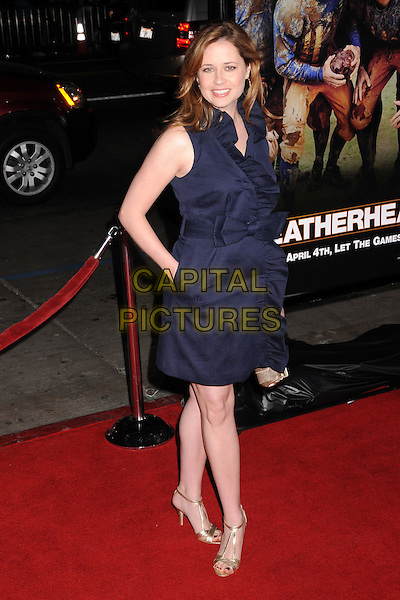 "JENNA FISCHER.""Leatherheads"" Los Angeles Premiere at Grauman's Chinese Theatre, Hollywood, California, USA..March 31st, 2008.full length blue ruffles ruffled dress wrap gold shoes bow ribbon hand in pocket .CAP/ADM/BP.©Byron Purvis/AdMedia/Capital Pictures."