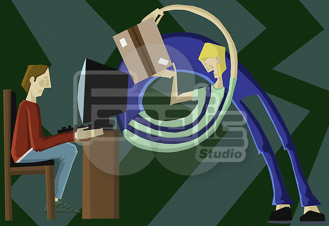 Conceptual image of online shopping over colored background