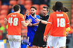 Forest's Henri Lansbury points an accusing finger at Blackpool's Darren O'Dea - Blackpool vs. Nottingham Forest - Skybet Championship - Bloomfield Road - Blackpool - 14/02/2015 Pic Philip Oldham/Sportimage