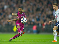 Manchester City Raheem Sterling during the Premier League match between Tottenham Hotspur and Manchester City at Wembley Stadium, London, England on 14 April 2018. Photo by Andrew Aleksiejczuk / PRiME Media Images.