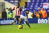 1st November 2017, St. Andrews Stadium, Birmingham, England; EFL Championship football, Birmingham City versus Brentford; Jacques Maghoma of Birmingham City muscles Josh Clarke of Brentford off the ball