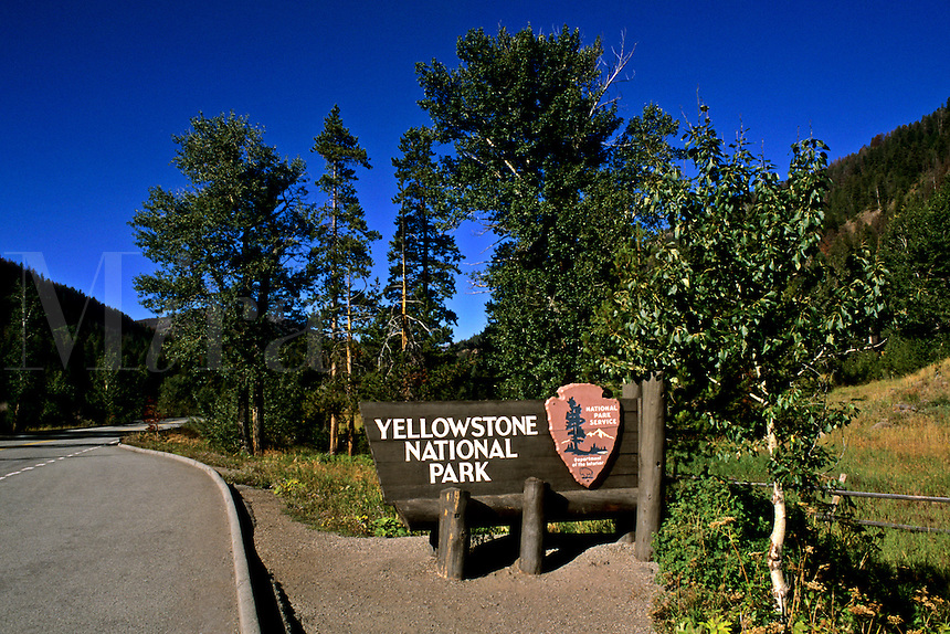 Signage at the entrance of the world famous Yellowstone National Park in Wyoming