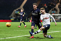 Preston North End's Sean Maguire crosses under pressure from Derby County's Craig Bryson  <br /> <br /> Photographer Andrew Kearns/CameraSport<br /> <br /> The EFL Sky Bet Championship - Preston North End v Derby County - Friday 1st February 2019 - Deepdale Stadium - Preston<br /> <br /> World Copyright © 2019 CameraSport. All rights reserved. 43 Linden Ave. Countesthorpe. Leicester. England. LE8 5PG - Tel: +44 (0) 116 277 4147 - admin@camerasport.com - www.camerasport.com