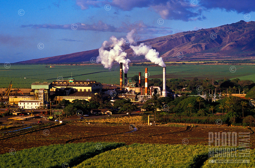 A sugar mill in Kahului, Maui, with fields of sugar cane in the foreground and in the distance.