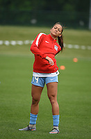 Kansas City, MO - Friday May 13, 2016: Chicago Red Stars defender Sarah Gorden (14) before the game. FC Kansas City and the Chicago Red Stars played to a 0-0 tie during a regular season National Women's Soccer League (NWSL) match at Swope Soccer Village.
