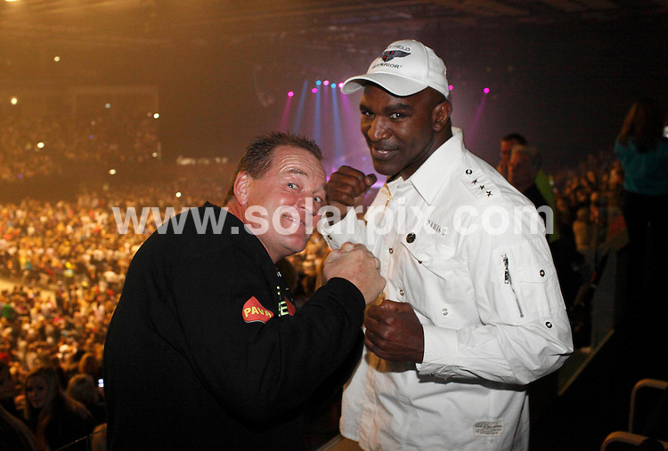 **ALL ROUND PICTURES FROM SOLARPIX.COM**                                             **UK AND SPAIN SYNDICATION RIGHTS ONLY**                                                                                  Caption:living boxing legend Evander Holyfield and star singer Justin Bieber caught up in Herning, Denmark. The four-time world heavyweight champion was in town to attend Saturday's TV2 Fight Night and promote his upcoming legends-of-the-ring clash with Brian Nielsen in Copenhagen on May 7, while Bieber gave a concert in front of a sell-out crowd at the brand-new Jyske Bank BOXEN. The 17-year-old has most recently done a sparring session with WBA Heavyweight Champion David Haye in London. Bieber was excited to meet 'The Real Deal' and had a skateboard and gloves signed. 'It was great to meet Justin Bieber,' Holyfield said.                                                                                This pic: Justin Bieber & Evander Holyfield                                                                                             JOB REF:13079        CPR/moritz       DATE: 02.04.2011                                                           **MUST CREDIT SOLARPIX.COM OR DOUBLE FEE WILL BE CHARGED**                                                                      **MUST AGREE FEE BEFORE ONLINE USAGE**                               **CALL US ON: +34 952 811 768 or LOW RATE FROM UK 0844 617 7637**