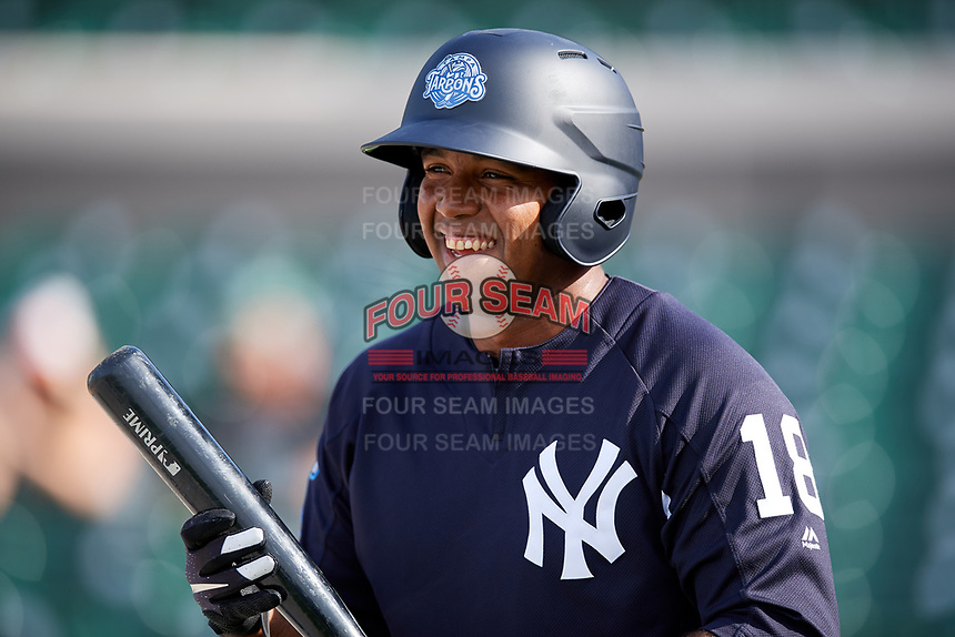 Tampa Tarpons left fielder Alexander Palma (18) during batting practice before a game against the Lakeland Flying Tigers on April 5, 2018 at Publix Field at Joker Marchant Stadium in Lakeland, Florida.  Tampa defeated Lakeland 4-2.  (Mike Janes/Four Seam Images)