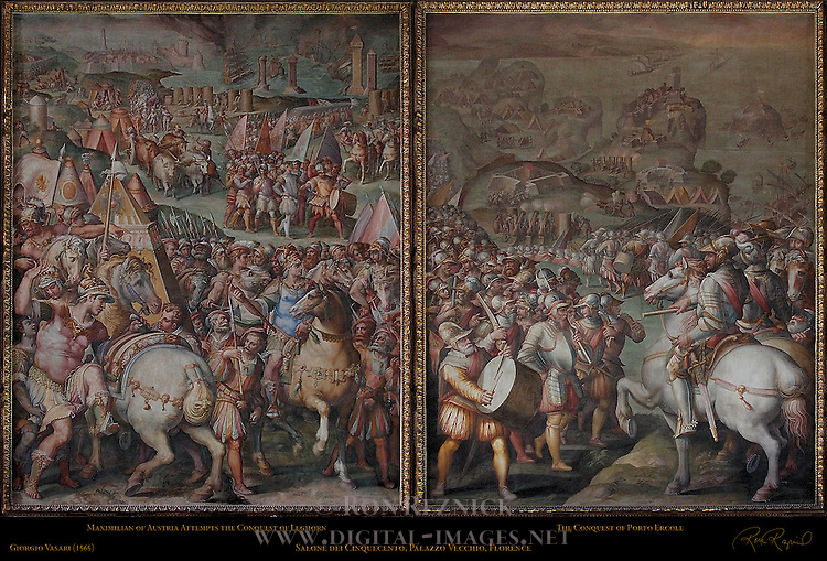 Maximilian of Austria Attempts the Conquest of Leghorn and the Conquest of Porto Ercole Vasari Salone dei Cinquecento (Hall of 500) Palazzo Vecchio Florence