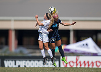 Sanford, FL - Saturday Oct. 14, 2017:  Players battle for a header during a US Soccer Girls' Development Academy match between Orlando Pride and NC Courage at Seminole Soccer Complex. The Courage defeated the Pride 3-1.