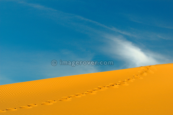 Uphill footsteps on sand dune in geometric contrast to white clouds and blue sky. Africa, North-West Africa, Sahara, Mauritania.