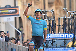 Jakob Fuglsang (DEN) Astana Pro Team wins Stage 5 of the Race of the Two Seas, the 54th Tirreno-Adriatico 2019, running 180km from Colli al Matauro to Recanati, Italy. 17th March 2019.<br /> Picture: LaPresse/Fabio Ferrari | Cyclefile<br /> <br /> <br /> All photos usage must carry mandatory copyright credit (© Cyclefile | LaPresse/Fabio Ferrari)