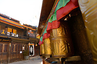 Prayer wheels in the Tibetan tourist town of Shangri-La (formerly Zhongdian) was renamed after the fictional location in James Hilton's 1933 novel, Lost Horizon. It is over 3000m above sea level on the Southern side of the Tibetan plateau.