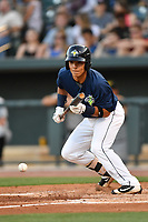 Shortstop Andres Gimenez (13) of the Columbia Fireflies bats in a game against  the West Virginia Power on Thursday, May 18, 2017, at Spirit Communications Park in Columbia, South Carolina. Columbia won in 10 innings, 3-2. (Tom Priddy/Four Seam Images)