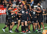 Players celebrate Issac Luke's try.<br /> NRL Premiership rugby league. Vodafone Warriors v St George Illawarra. Mt Smart Stadium, Auckland, New Zealand. Friday 20 April 2018. &copy; Copyright photo: Andrew Cornaga / www.Photosport.nz