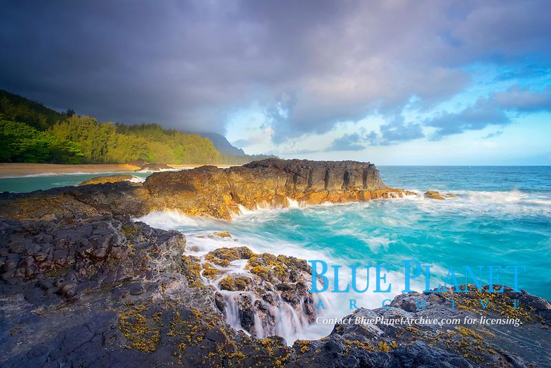 rugged lava shoreline at sunrise, Lumahai Beach, Kauai, Hawaii, USA, Pacific Ocean