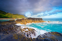 rugged lava shoreline at sunrise, Lumahai Beach, Kauai, Hawaii, USA, Pacific Ocean