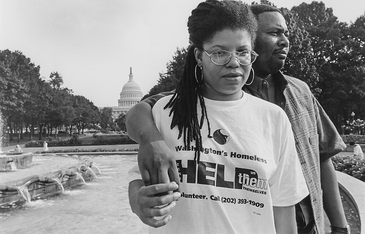 Lois and Keith Mitchell (married for 18 yrs), residents and volunteers at Community For Creative Non-Violence on Capitol Hill on Aug. 17, 1995. (Photo by Maureen Keating/CQ Roll Call via Getty Images)