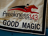 BALTIMORE, MD - MAY 15: The saddle cloth for Breeders' Cup Juvenile and Kentucky Derby runner up Good Magic at Pimlico Race Course on May 15, 2018 in Baltimore, Maryland (Photo by Scott Serio/Eclipse Sportswire/Getty Images)