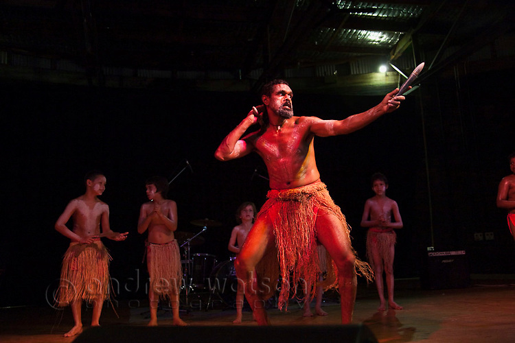 Aboriginal dancers at the Tropical Wave Festival.  The festival held in August, celebrates the region's multicultural mix.  Cairns, Queensland, Australia