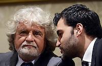 Roma, 10 Luglio 2013<br /> Beppe Grillo incontra la stampa nella sala Nassirya del Senato dopo  l'incontro con il Presidente della Repubblica Giorgio Napolitano al Quirinale.<br /> Nella foto Beppe Grillo e Riccardo Nuti capogruppo alla Camera dei Deputati
