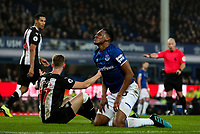 Everton's Yerry Mina clashes with Newcastle United's Emil Krafth<br /> <br /> Photographer Alex Dodd/CameraSport<br /> <br /> The Premier League - Everton v Newcastle United  - Tuesday 21st January 2020 - Goodison Park - Liverpool<br /> <br /> World Copyright © 2020 CameraSport. All rights reserved. 43 Linden Ave. Countesthorpe. Leicester. England. LE8 5PG - Tel: +44 (0) 116 277 4147 - admin@camerasport.com - www.camerasport.com