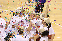 10 March 2008: Stanford Cardinal (not in order) Melanie Murphy, Jayne Appel, Michelle Harrison, JJ Hones, Candice Wiggins, Cissy Pierce, Kayla Pedersen, Hannah Donaghe, Rosalyn Gold-Onwude, Jeanette Pohlen, Ashley Cimino, Morgan Clyburn, and Jillian Harmon during Stanford's 56-35 win against the California Golden Bears in the 2008 State Farm Pac-10 Women's Basketball championship game at HP Pavilion in San Jose, CA.