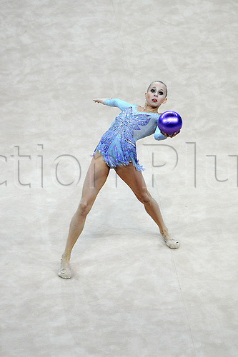 13.04.2014.  Pesaro, Italy. The FIG Rhythmic Gymnastic World Cup Series. Yana Kudyatseva wins the gold medal for the ball apparatus final.