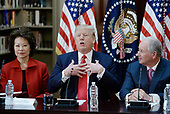 United States President Donald Trump flanked by US Secretary of Transportation Elaine Chao, left, and Stephen A. Schwarzman,  Chairman, CEO and Co-Founder of Blackstone, right, speaks during a strategic and policy discussion with CEOs in the State Department Library in the Eisenhower Executive Office Building (EEOB) in Washington, DC, April 11, 2017.<br /> Credit: Olivier Douliery / Pool via CNP