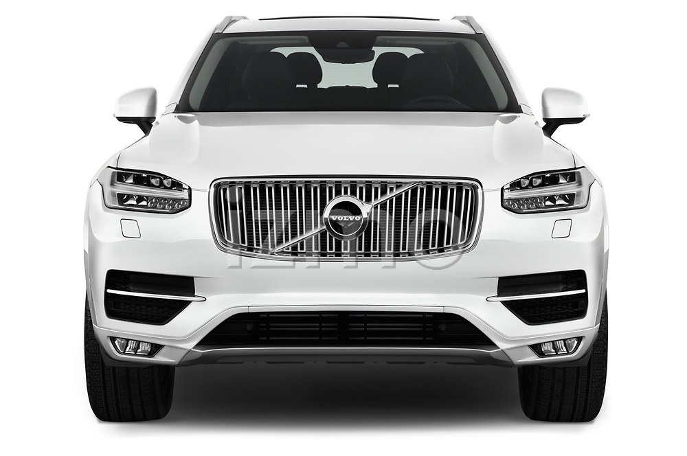 Car photography straight front view of a 2018 Volvo XC90-4WD Inscription 5 Door SUV Front View