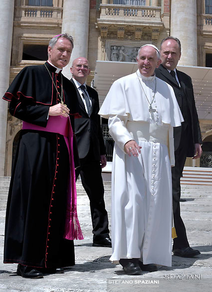 Pope Francis  Monsignor Georg Gänswein,Domenico Giani,during his weekly general audience in St. Peter square at the Vatican, Wednesday.May 18 2016.