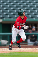 Fort Wayne TinCaps Agustin Ruiz (20) runs to first base during a Midwest League game against the Fort Wayne TinCaps at Parkview Field on April 30, 2019 in Fort Wayne, Indiana. Kane County defeated Fort Wayne 7-4. (Zachary Lucy/Four Seam Images)