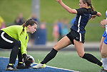 St. Teresa's goalkeeper MaKenzee Velcher (left) grabs the ball away from Columbia's Chloe Graff in the Class 1A girls soccer supersectional game played at Columbia High School in Columbia, IL on Tuesday May 21, 2019.<br /> Tim Vizer/Special to STLhighschoolsports.com