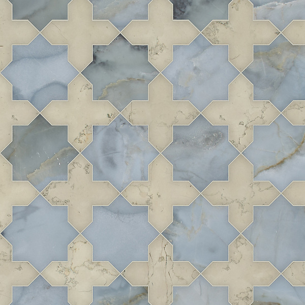 Isaac, a waterjet stone mosaic, shown in polished Pacifica and honed Bianco Antico, is part of the Semplice™ collection for New Ravenna.