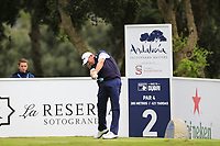 David Drysdale (SCO) tees off the 2nd tee during Saturday's rain delayed Round 2 of the Andalucia Valderrama Masters 2018 hosted by the Sergio Foundation, held at Real Golf de Valderrama, Sotogrande, San Roque, Spain. 20th October 2018.<br /> Picture: Eoin Clarke | Golffile<br /> <br /> <br /> All photos usage must carry mandatory copyright credit (&copy; Golffile | Eoin Clarke)