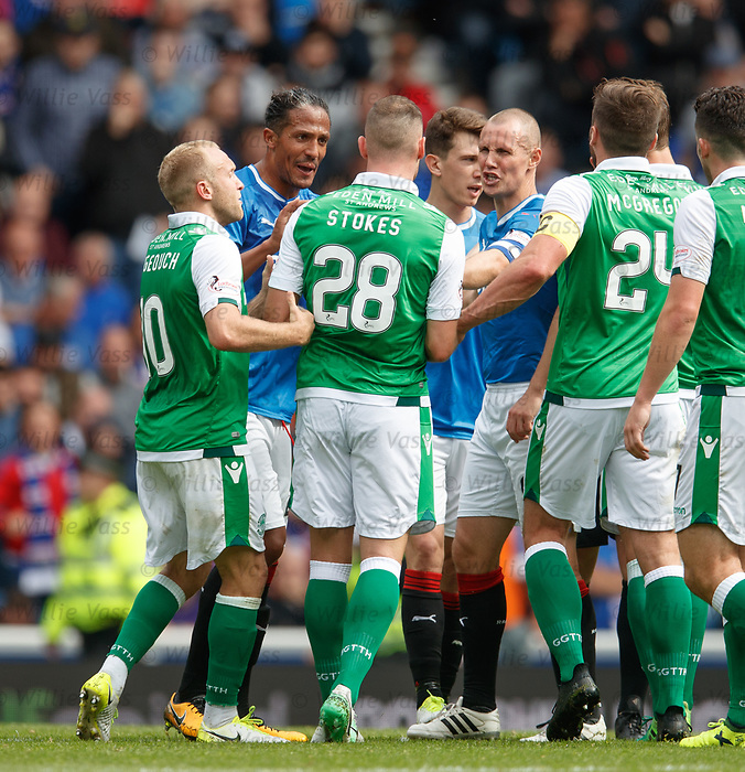 Kenny Miller, Bruno Alves and Dylan McGeough all react to Anthony Stokes after clashing with Ryan Jack
