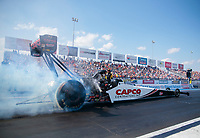 Sep 29, 2019; Madison, IL, USA; NHRA top fuel driver Steve Torrence during the Midwest Nationals at World Wide Technology Raceway. Mandatory Credit: Mark J. Rebilas-USA TODAY Sports