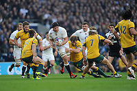 Ben Morgan of England charges upfield during the QBE International match between England and Australia at Twickenham Stadium on Saturday 29th November 2014 (Photo by Rob Munro)
