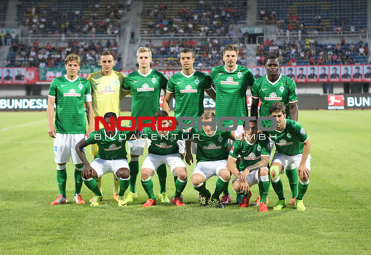 02.07.2014, Jingkai Stadium, Changchun, FSP Changchun Yatai vs Werder Bremen, im Bild<br /> <br /> A friendly match between Changchun Yatai of Chinese Super League and Werder Bremen of Bundesliga at the Changchun Jingkai Stadium. <br /> <br /> Starformation<br /> v.li vorne Eljero Elia (Bremen #11), Fin Bartels (Bremen #22), Felix Kroos (Bremen #18), Ludovic Obraniak (Bremen #7), Santiago Garcia (Bremen #2)<br /> h-.v.li. Clemens Fritz (Bremen #8), Raphael Wolf (Bremen #1), Oliver H&uuml;sing / Huesing (Bremen #25), Franco Di Santo (Bremen #9) Sebastian Pr&ouml;dl / Proedl (Bremen #15) Assani Lukimya (Bremen #5)<br /> <br /> <br /> Foto &copy; nordphoto