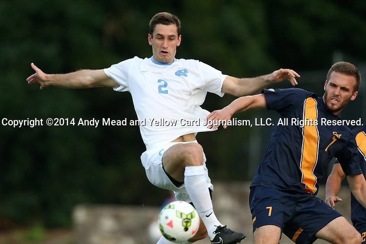 29 August 2014: North Carolina's Jonathan Campbell (2) and Cal's Trevor Haberkorn (7). The University of North Carolina Tar Heels hosted the University of California Bears at Fetzer Field in Chapel Hill, NC in a 2014 NCAA Division I Men's Soccer match. North Carolina won the game 3-1.