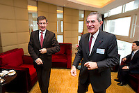 French Financial Markets Authority Chairman Jean-Pierre Jouyet (left), and GDF Suez CEO and Paris Europlace Chairman Gerard Mestrallet (right), before Shanghai / Paris Europlace Financial Forum, in Shanghai, China, on December 1, 2010. Photo by Lucas Schifres/Pictobank