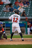 Indianapolis Indians Jason Martin (12) bats during an International League game against the Syracuse Mets on July 16, 2019 at Victory Field in Indianapolis, Indiana.  Syracuse defeated Indianapolis 5-2  (Mike Janes/Four Seam Images)