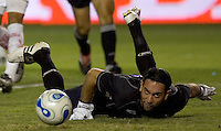 Necaxa GK Alexandro Alvarez eyes a loose ball. Necaxa defeated LA Galaxy 1-0 in an International friendly match at The Home Depot Center in Carson, California, Wednesday July 12, 2006.