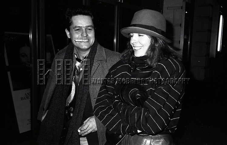 Diane Keaton and Jonathan Demme attend a performance of 'Crimes of the Heart' at the Golden Theatre on November  1, 1981 in New York City.