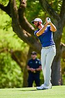 Dustin Johnson (USA) hits his approach shot on 6 during round 5 of the World Golf Championships, Dell Technologies Match Play, Austin Country Club, Austin, Texas, USA. 3/25/2017.<br /> Picture: Golffile | Ken Murray<br /> <br /> <br /> All photo usage must carry mandatory copyright credit (&copy; Golffile | Ken Murray)