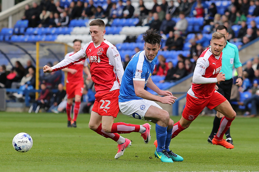 Fleetwood Town's Ashley Hunter gets round Peterborough United's Andrew Hughes<br /> <br /> Photographer David Shipman/CameraSport<br /> <br /> The EFL Sky Bet League One - Peterborough United v Fleetwood Town - Friday 14th April 2016 - ABAX Stadium  - Peterborough<br /> <br /> World Copyright &copy; 2017 CameraSport. All rights reserved. 43 Linden Ave. Countesthorpe. Leicester. England. LE8 5PG - Tel: +44 (0) 116 277 4147 - admin@camerasport.com - www.camerasport.com