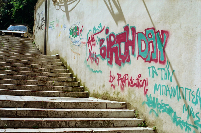 'BIRTHDAY' graffiti in Corfu Town.Greece 2004.
