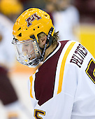 Derek Peltier (University of Minnesota - Plymouth, MN) warms up. The University of Minnesota Golden Gophers defeated the Michigan State University Spartans 5-4 on Friday, November 24, 2006 at Mariucci Arena in Minneapolis, Minnesota, as part of the College Hockey Showcase.