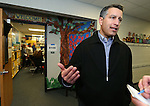 Gov. Brian Sandoval answers media questions after voting at the Republican caucus at Caughlin Ranch Elementary School in Reno, Nev. on Tuesday, Feb. 23, 2016. Sandoval voted for Rubio but said it was not an endorsement. Cathleen Allison/Las Vegas Review-Journal