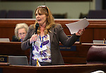 Nevada Assembly Minority Leader Marilyn Kirkpatrick, D-North Las Vegas, works on the Assembly floor at the Legislative Building in Carson City, Nev., on Wednesday, May 13, 2015.<br /> Photo by Cathleen Allison